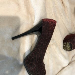 women's iridescent animal print heels